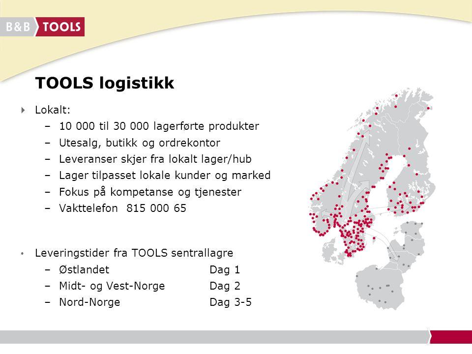 TOOLS logistikk  Lokalt: –10 000 til 30 000 lagerførte produkter –Utesalg, butikk og ordrekontor –Leveranser skjer fra lokalt lager/hub –Lager tilpas