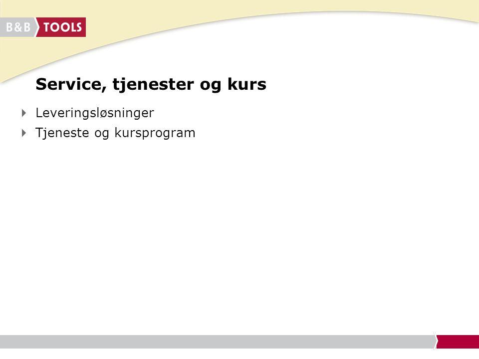 Service, tjenester og kurs  Leveringsløsninger  Tjeneste og kursprogram