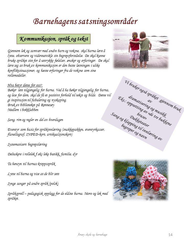Barnehagens satsningsområder Kommunikasjon, språk og tekst Gjennom lek og samvær med andre barn og voksne, skal barna lære å lytte, observere og vider