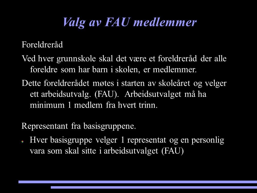 Valg av FAU medlemmer Foreldreråd Ved hver grunnskole skal det være et foreldreråd der alle foreldre som har barn i skolen, er medlemmer. Dette foreld