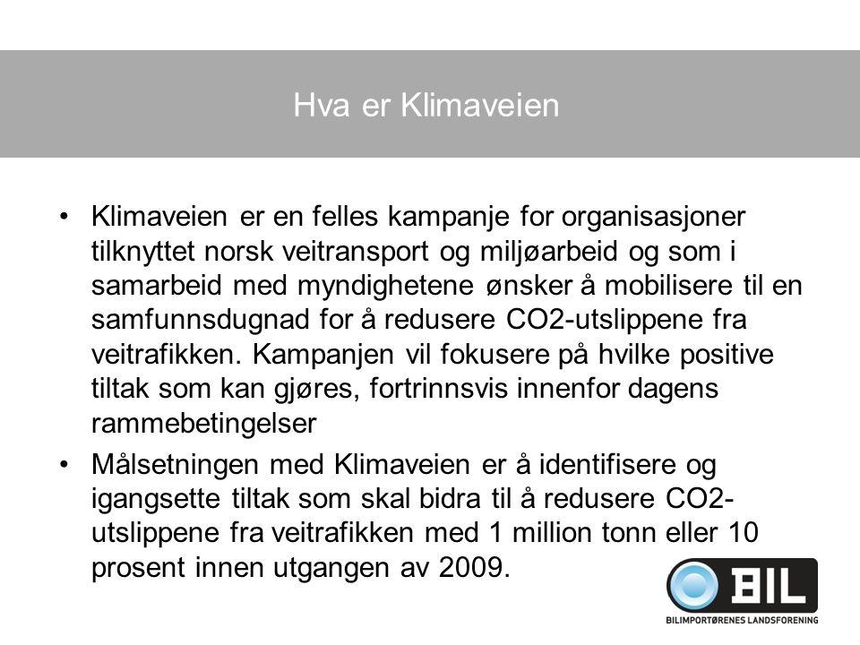 Hva er Klimaveien Klimaveien er en felles kampanje for organisasjoner tilknyttet norsk veitransport og miljøarbeid og som i samarbeid med myndighetene