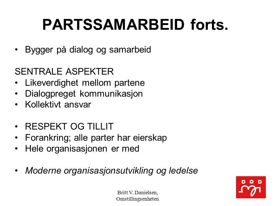 Britt V. Danielsen, Omstillingsenheten PARTSSAMARBEID forts. Bygger på dialog og samarbeid SENTRALE ASPEKTER Likeverdighet mellom partene Dialogpreget