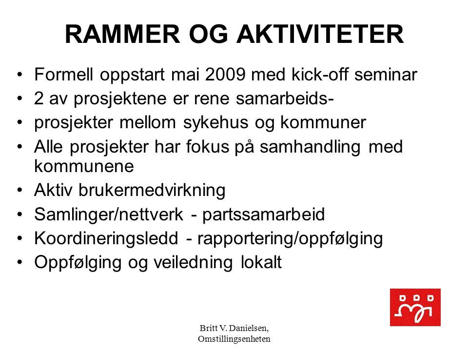 Britt V. Danielsen, Omstillingsenheten RAMMER OG AKTIVITETER Formell oppstart mai 2009 med kick-off seminar 2 av prosjektene er rene samarbeids- prosj