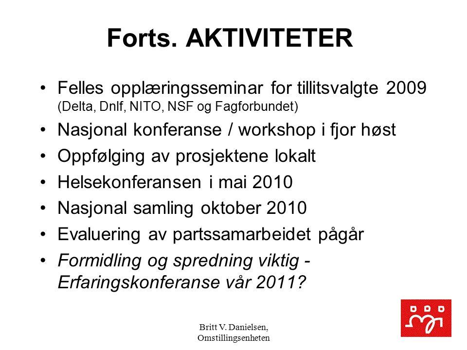 Britt V. Danielsen, Omstillingsenheten Forts. AKTIVITETER Felles opplæringsseminar for tillitsvalgte 2009 (Delta, Dnlf, NITO, NSF og Fagforbundet) Nas