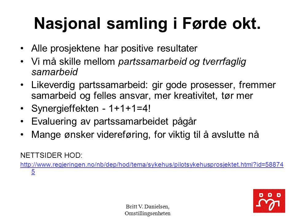 Britt V. Danielsen, Omstillingsenheten Nasjonal samling i Førde okt. Alle prosjektene har positive resultater Vi må skille mellom partssamarbeid og tv
