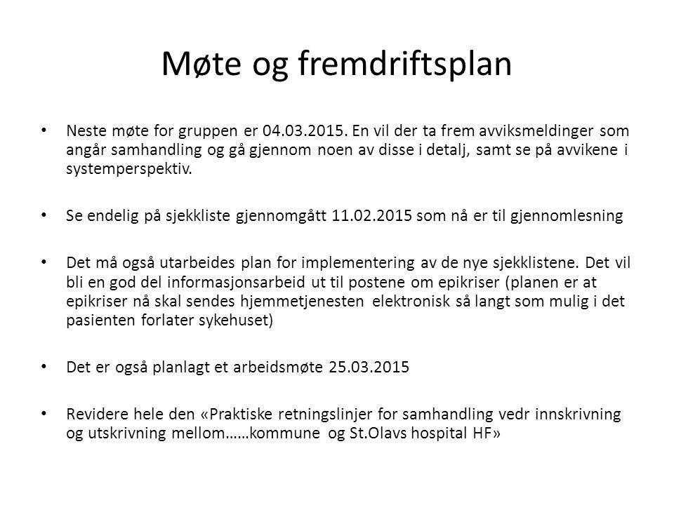Møte og fremdriftsplan Neste møte for gruppen er 04.03.2015.