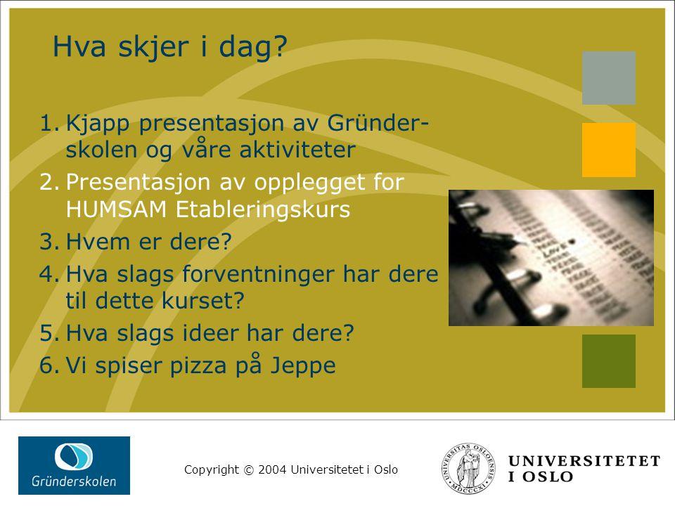 Copyright © 2004 Universitetet i Oslo Lekse til neste gang Tenk gjennom følgende spørsmål: Hva er ditt produkt.