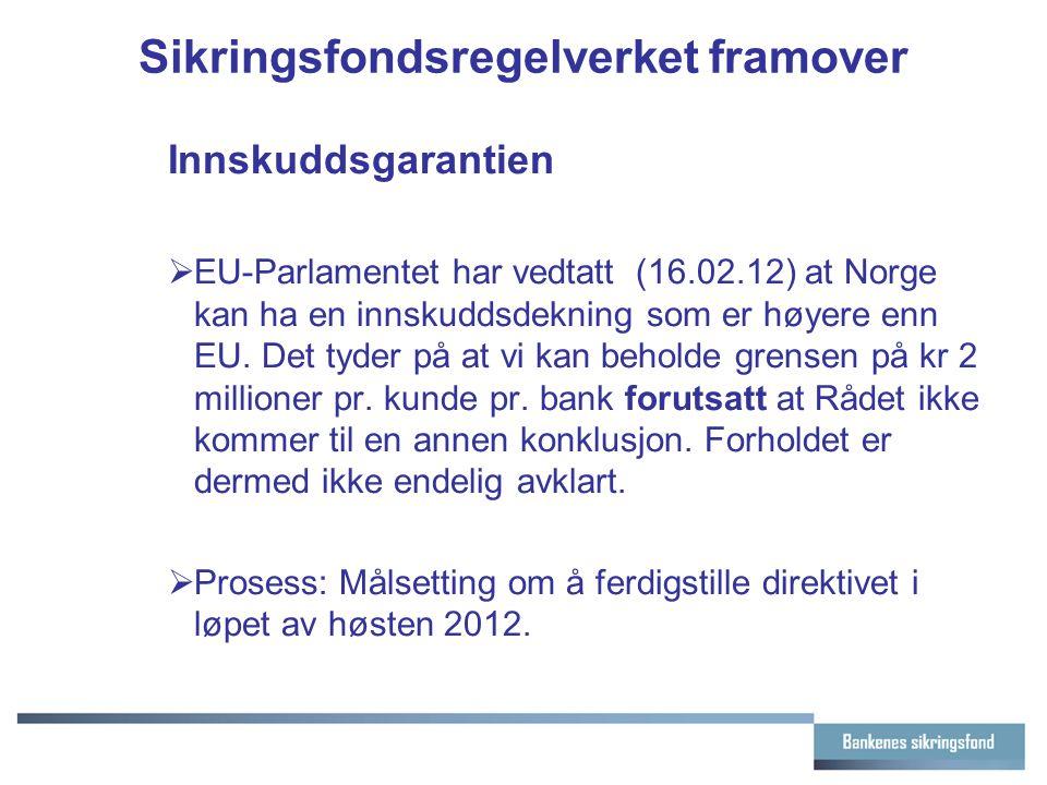 Sikringsfondsregelverket framover Innskuddsgarantien  EU-Parlamentet har vedtatt (16.02.12) at Norge kan ha en innskuddsdekning som er høyere enn EU.