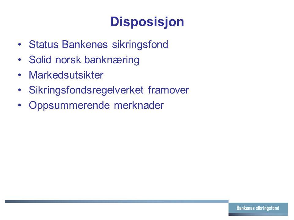 Disposisjon Status Bankenes sikringsfond Solid norsk banknæring Markedsutsikter Sikringsfondsregelverket framover Oppsummerende merknader