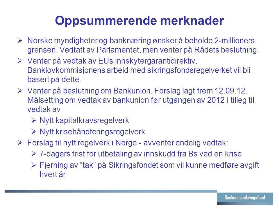 Oppsummerende merknader  Norske myndigheter og banknæring ønsker å beholde 2-millioners grensen. Vedtatt av Parlamentet, men venter på Rådets beslutn