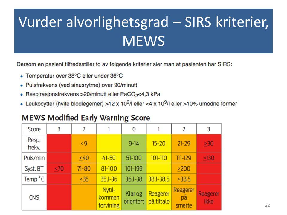 Vurder alvorlighetsgrad – SIRS kriterier, MEWS 22