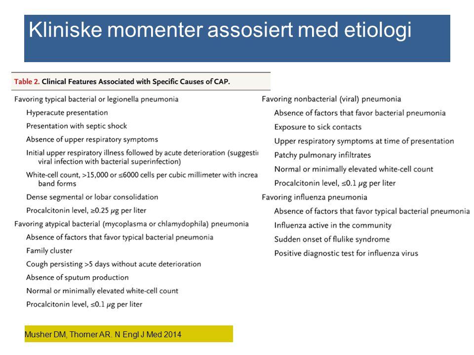 Musher DM, Thorner AR. N Engl J Med 2014 Kliniske momenter assosiert med etiologi