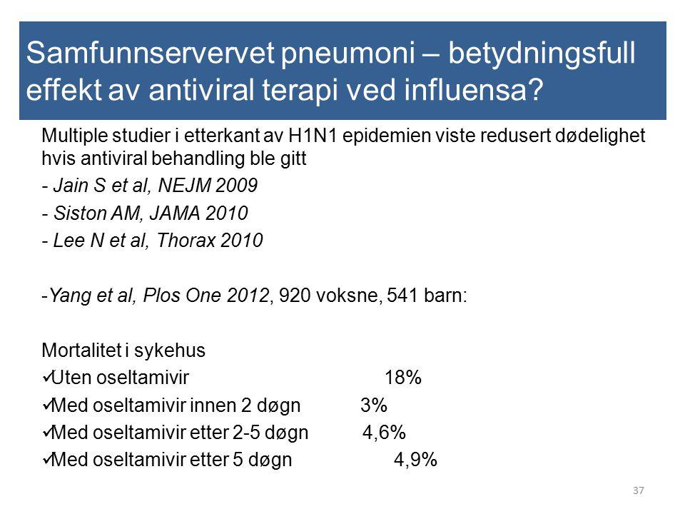 Samfunnservervet pneumoni – betydningsfull effekt av antiviral terapi ved influensa? 37 Multiple studier i etterkant av H1N1 epidemien viste redusert