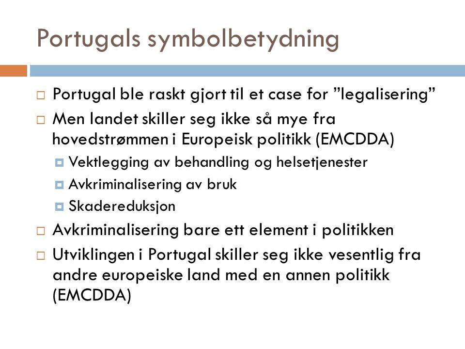 """Portugals symbolbetydning  Portugal ble raskt gjort til et case for """"legalisering""""  Men landet skiller seg ikke så mye fra hovedstrømmen i Europeisk"""
