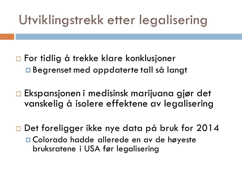 Utviklingstrekk etter legalisering  For tidlig å trekke klare konklusjoner  Begrenset med oppdaterte tall så langt  Ekspansjonen i medisinsk mariju