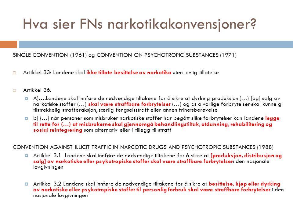 Hva sier FNs narkotikakonvensjoner? SINGLE CONVENTION (1961) og CONVENTION ON PSYCHOTROPIC SUBSTANCES (1971)  Artikkel 33: Landene skal ikke tillate