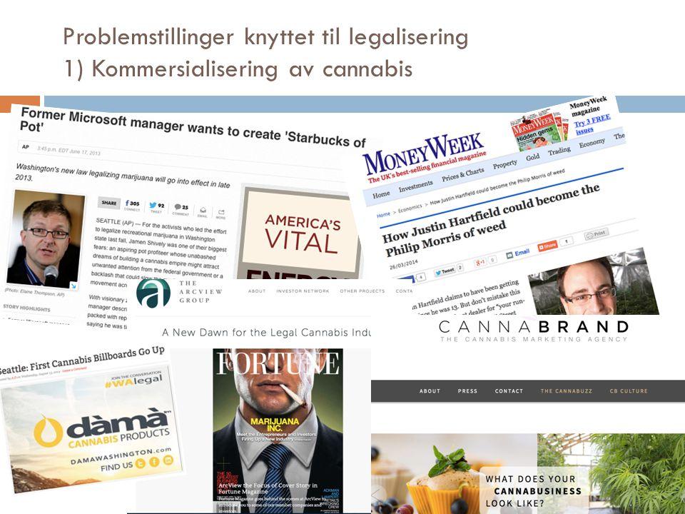 Problemstillinger knyttet til legalisering 1) Kommersialisering av cannabis