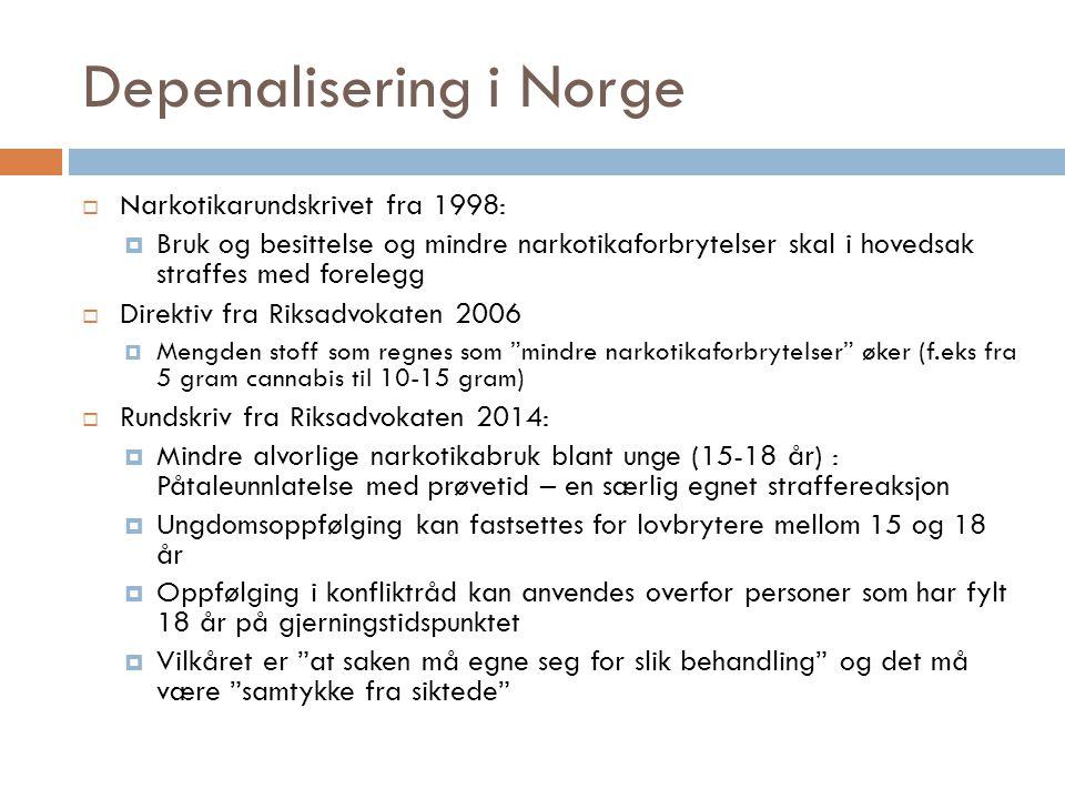 Depenalisering i Norge  Narkotikarundskrivet fra 1998:  Bruk og besittelse og mindre narkotikaforbrytelser skal i hovedsak straffes med forelegg  D