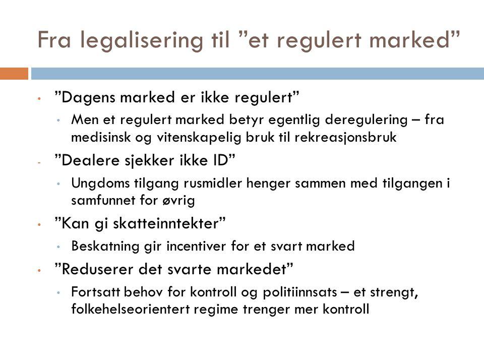 """Fra legalisering til """"et regulert marked"""" """"Dagens marked er ikke regulert"""" Men et regulert marked betyr egentlig deregulering – fra medisinsk og viten"""