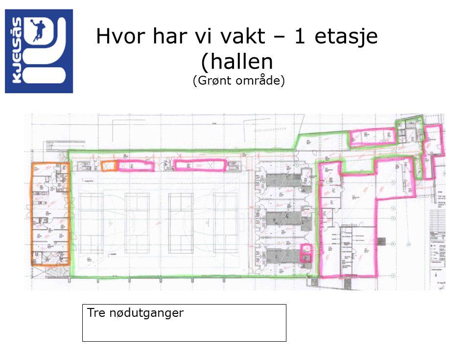 Hvor har vi vakt – 1 etasje (hallen (Grønt område) Tre nødutganger