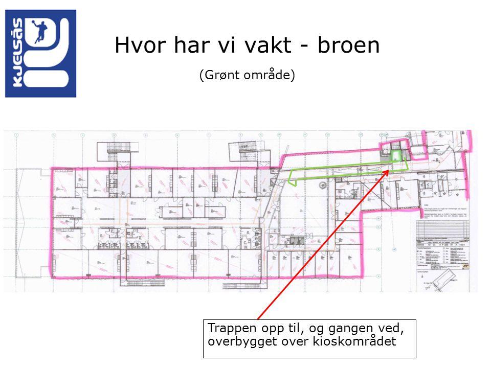 Hvor har vi vakt - broen (Grønt område) Trappen opp til, og gangen ved, overbygget over kioskområdet