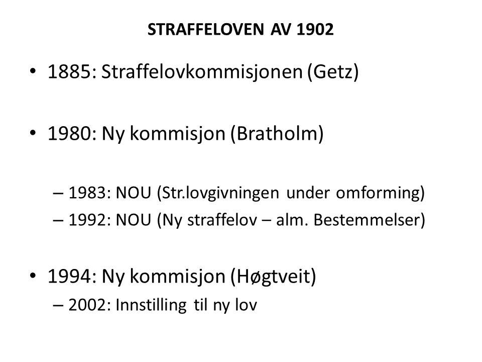 STRAFFELOVEN AV 1902 1885: Straffelovkommisjonen (Getz) 1980: Ny kommisjon (Bratholm) – 1983: NOU (Str.lovgivningen under omforming) – 1992: NOU (Ny s