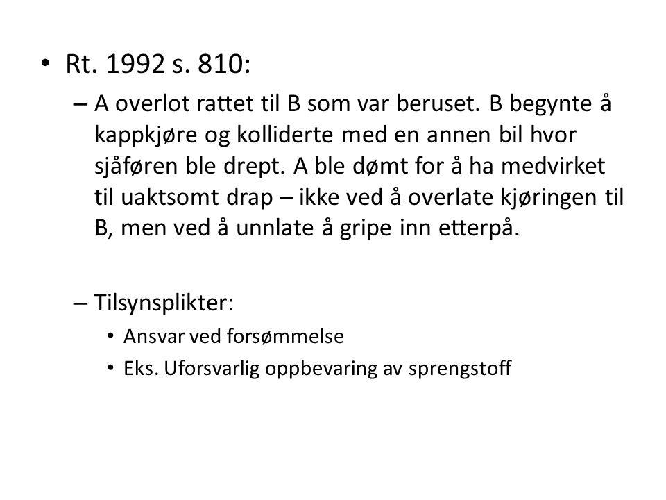 Rt. 1992 s. 810: – A overlot rattet til B som var beruset. B begynte å kappkjøre og kolliderte med en annen bil hvor sjåføren ble drept. A ble dømt fo