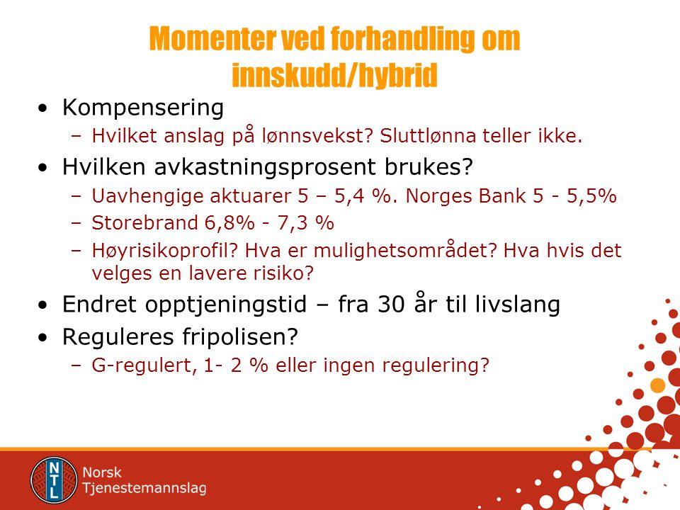 Momenter ved forhandling om innskudd/hybrid Kompensering –Hvilket anslag på lønnsvekst? Sluttlønna teller ikke. Hvilken avkastningsprosent brukes? –Ua