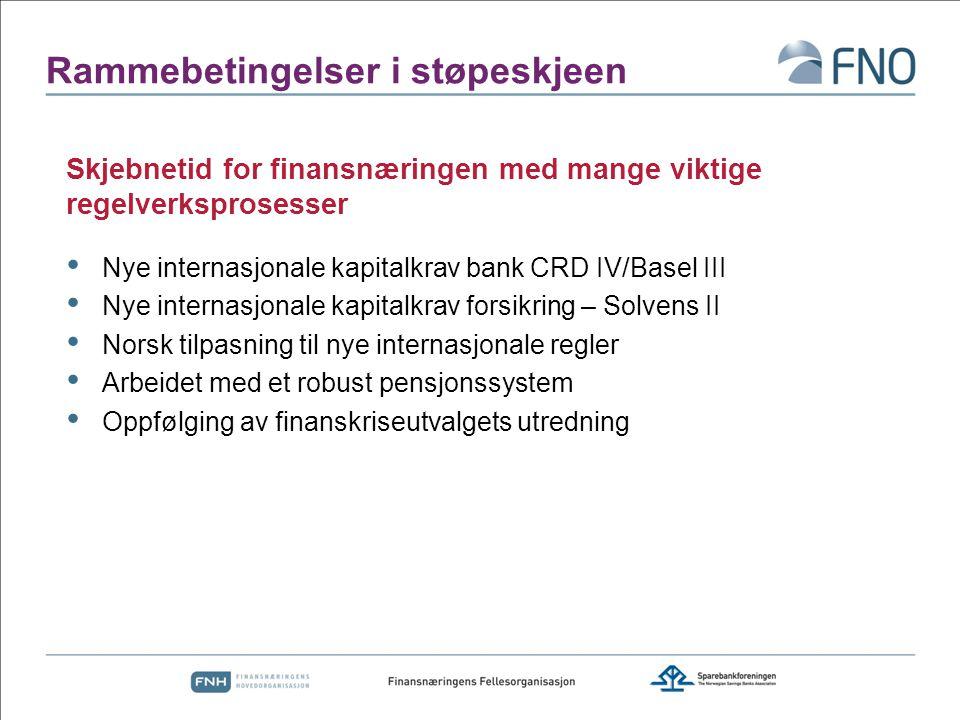Rammebetingelser i støpeskjeen Nye internasjonale kapitalkrav bank CRD IV/Basel III Nye internasjonale kapitalkrav forsikring – Solvens II Norsk tilpa