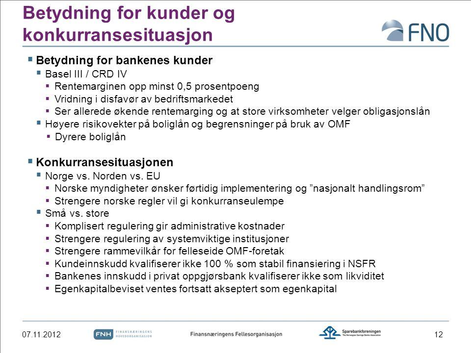 Betydning for kunder og konkurransesituasjon  Betydning for bankenes kunder  Basel III / CRD IV  Rentemarginen opp minst 0,5 prosentpoeng  Vridnin