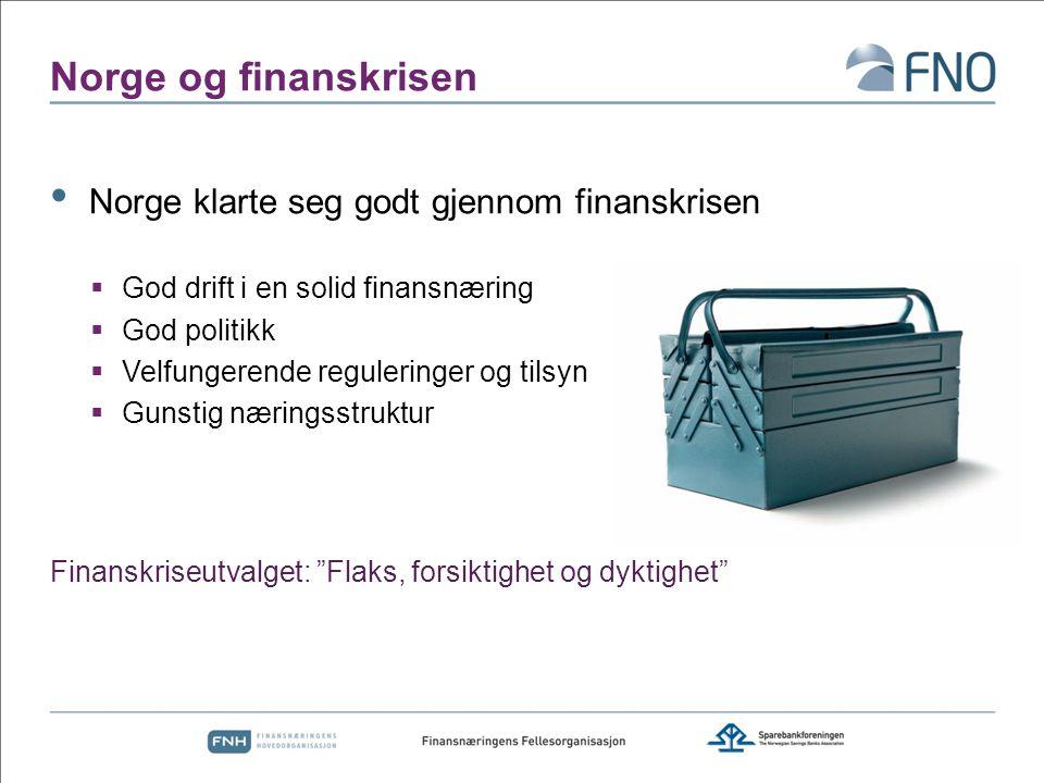 Norge og finanskrisen Norge klarte seg godt gjennom finanskrisen  God drift i en solid finansnæring  God politikk  Velfungerende reguleringer og ti