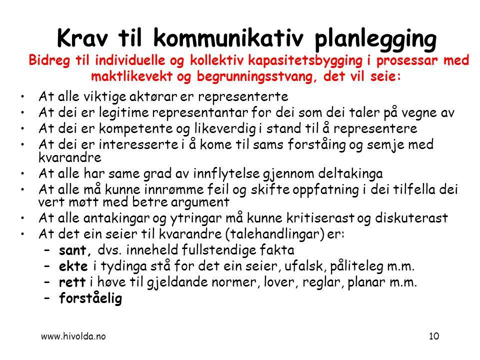 10 Krav til kommunikativ planlegging Bidreg til individuelle og kollektiv kapasitetsbygging i prosessar med maktlikevekt og begrunningsstvang, det vil