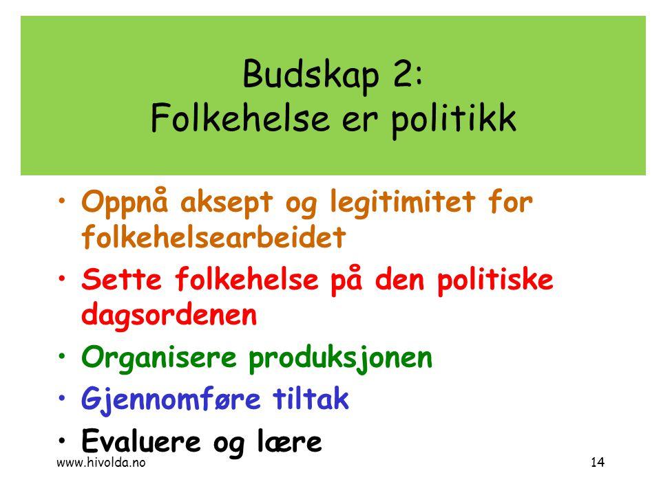 Budskap 2: Folkehelse er politikk Oppnå aksept og legitimitet for folkehelsearbeidet Sette folkehelse på den politiske dagsordenen Organisere produksj