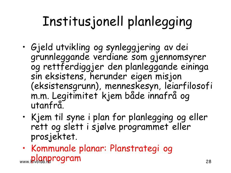 Institusjonell planlegging Gjeld utvikling og synleggjering av dei grunnleggande verdiane som gjennomsyrer og rettferdiggjer den planleggande eininga