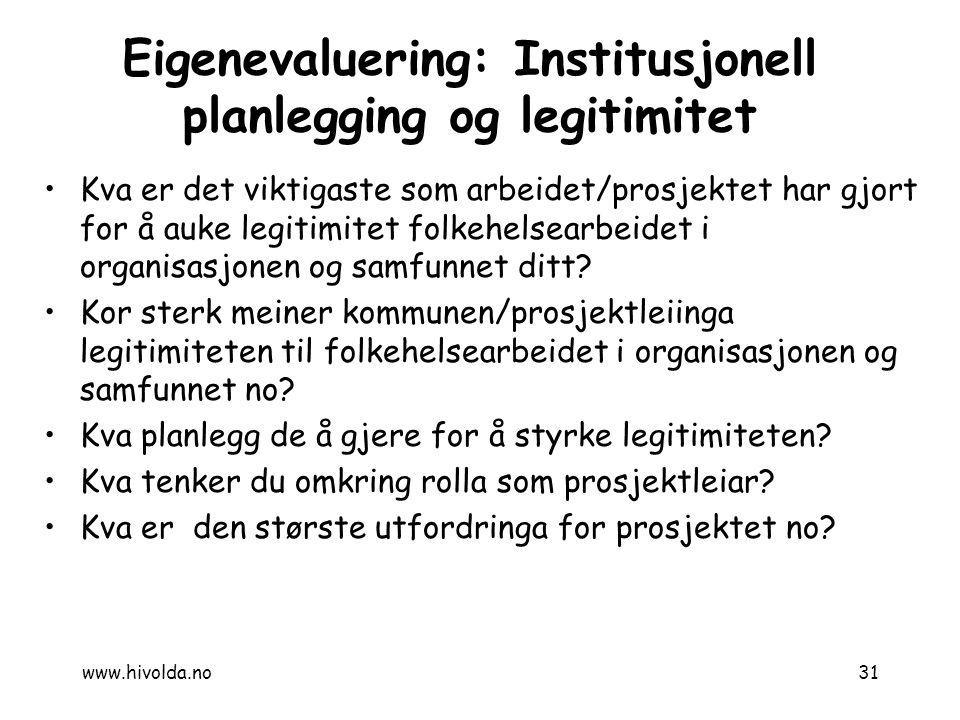 Eigenevaluering: Institusjonell planlegging og legitimitet Kva er det viktigaste som arbeidet/prosjektet har gjort for å auke legitimitet folkehelsear