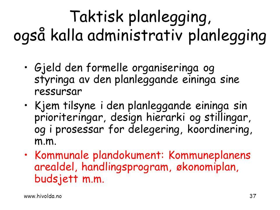 Taktisk planlegging, også kalla administrativ planlegging Gjeld den formelle organiseringa og styringa av den planleggande eininga sine ressursar Kjem