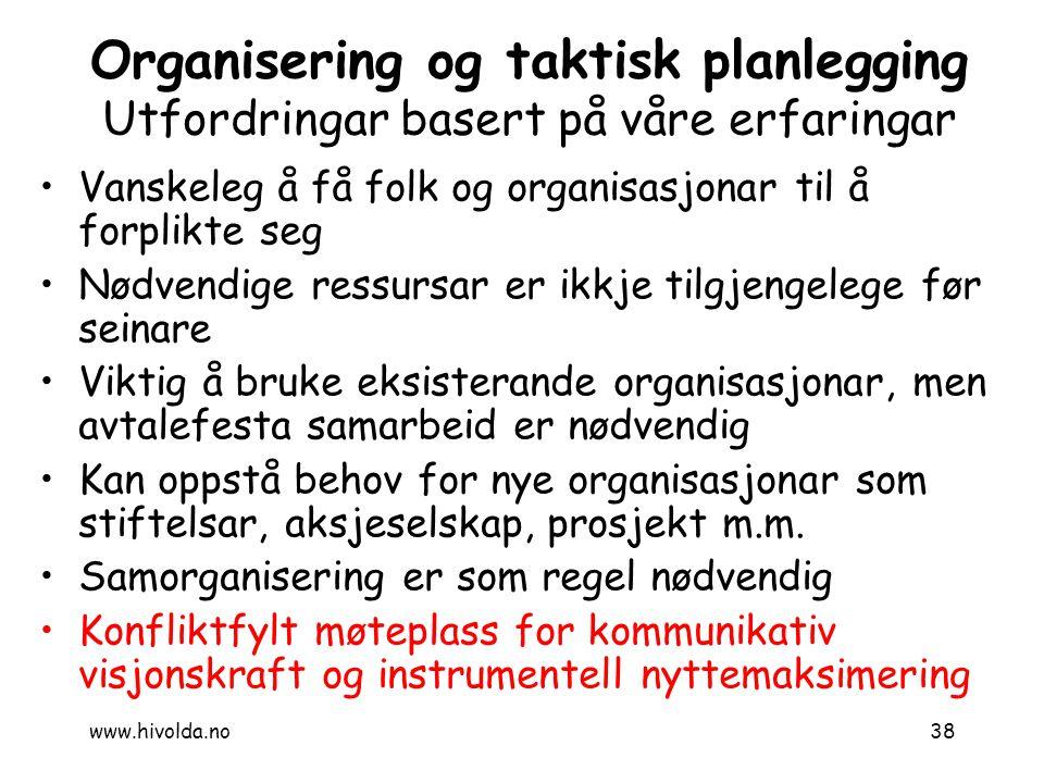 38 Organisering og taktisk planlegging Utfordringar basert på våre erfaringar Vanskeleg å få folk og organisasjonar til å forplikte seg Nødvendige res