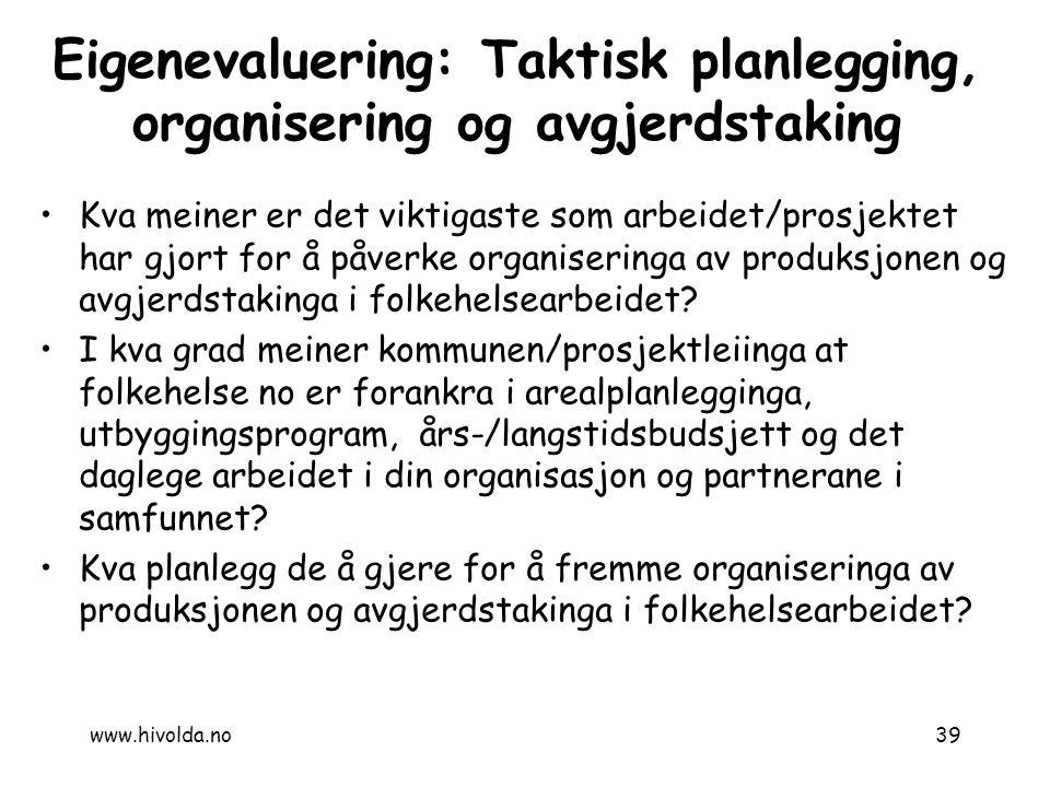 Kva meiner er det viktigaste som arbeidet/prosjektet har gjort for å påverke organiseringa av produksjonen og avgjerdstakinga i folkehelsearbeidet? I