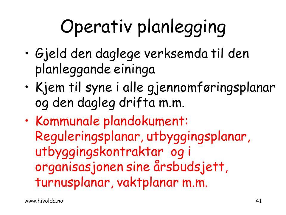 Operativ planlegging Gjeld den daglege verksemda til den planleggande eininga Kjem til syne i alle gjennomføringsplanar og den dagleg drifta m.m. Komm
