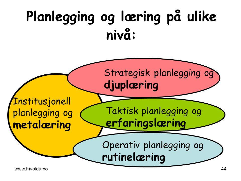 Planlegging og læring på ulike nivå: Strategisk planlegging og djuplæring Taktisk planlegging og erfaringslæring Institusjonell planlegging og metalær