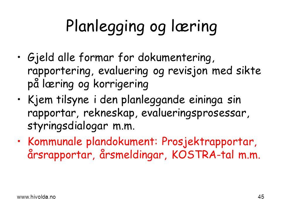 Planlegging og læring Gjeld alle formar for dokumentering, rapportering, evaluering og revisjon med sikte på læring og korrigering Kjem tilsyne i den