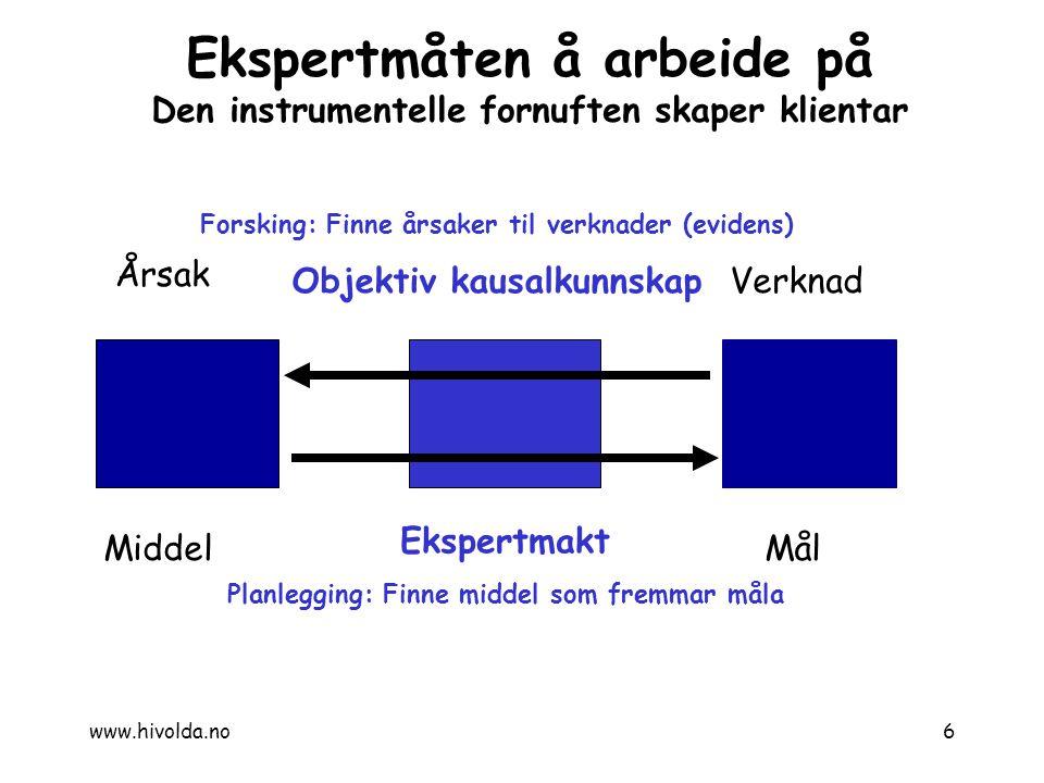 Årsak Verknad MiddelMål Forsking: Finne årsaker til verknader (evidens) Objektiv kausalkunnskap Ekspertmakt Planlegging: Finne middel som fremmar måla