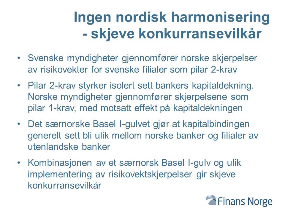 Ingen nordisk harmonisering - skjeve konkurransevilkår Svenske myndigheter gjennomfører norske skjerpelser av risikovekter for svenske filialer som pilar 2-krav Pilar 2-krav styrker isolert sett bankers kapitaldekning.
