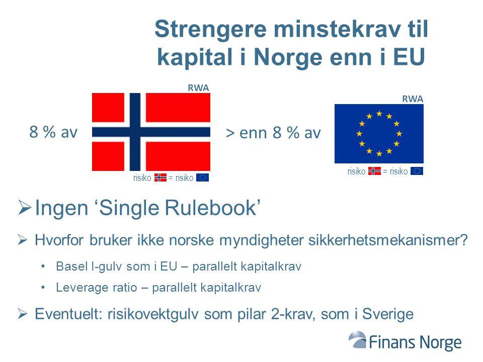 risiko = risiko Strengere minstekrav til kapital i Norge enn i EU 8 % av  Ingen 'Single Rulebook'  Hvorfor bruker ikke norske myndigheter sikkerhetsmekanismer.
