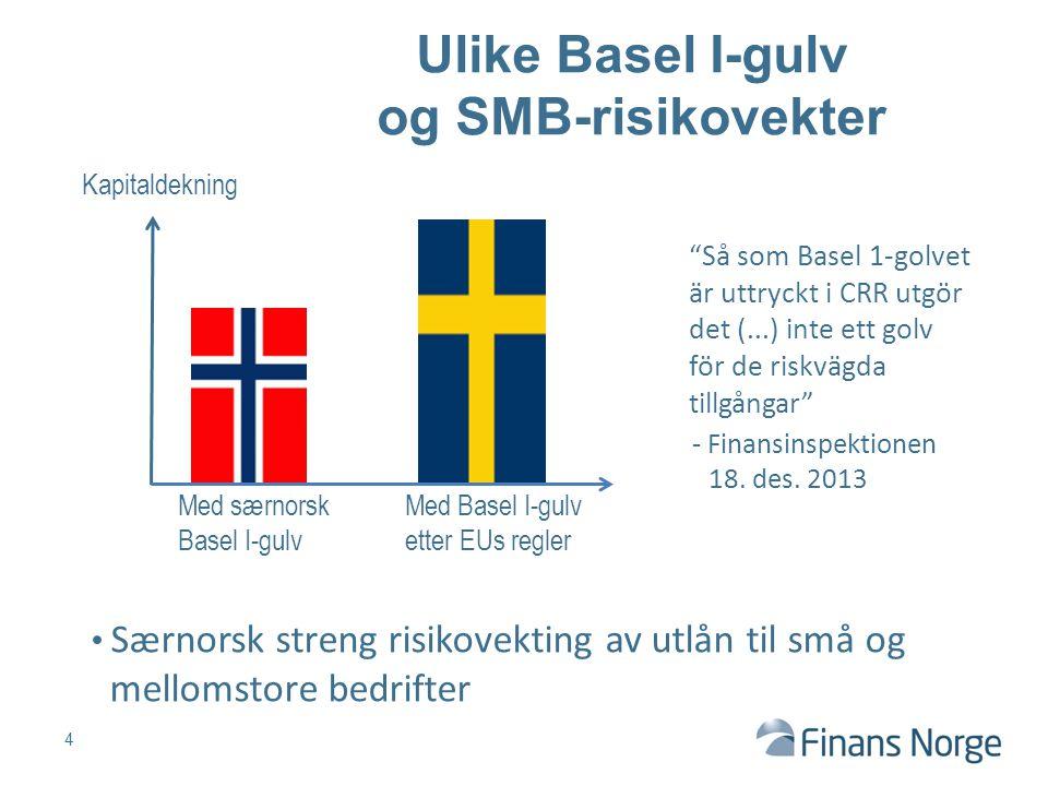 """Kapitaldekning 4 """"Så som Basel 1-golvet är uttryckt i CRR utgör det (...) inte ett golv för de riskvägda tillgångar"""" - Finansinspektionen 18. des. 201"""