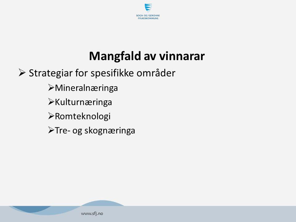 Mangfald av vinnarar  Strategiar for spesifikke områder  Mineralnæringa  Kulturnæringa  Romteknologi  Tre- og skognæringa www.sfj.no