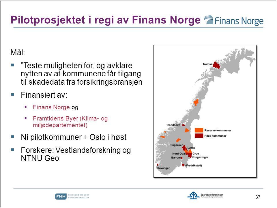 Mål:  Teste muligheten for, og avklare nytten av at kommunene får tilgang til skadedata fra forsikringsbransjen  Finansiert av:  Finans Norge og  Framtidens Byer (Klima- og miljødepartementet)  Ni pilotkommuner + Oslo i høst  Forskere: Vestlandsforskning og NTNU Geo Pilotprosjektet i regi av Finans Norge 37