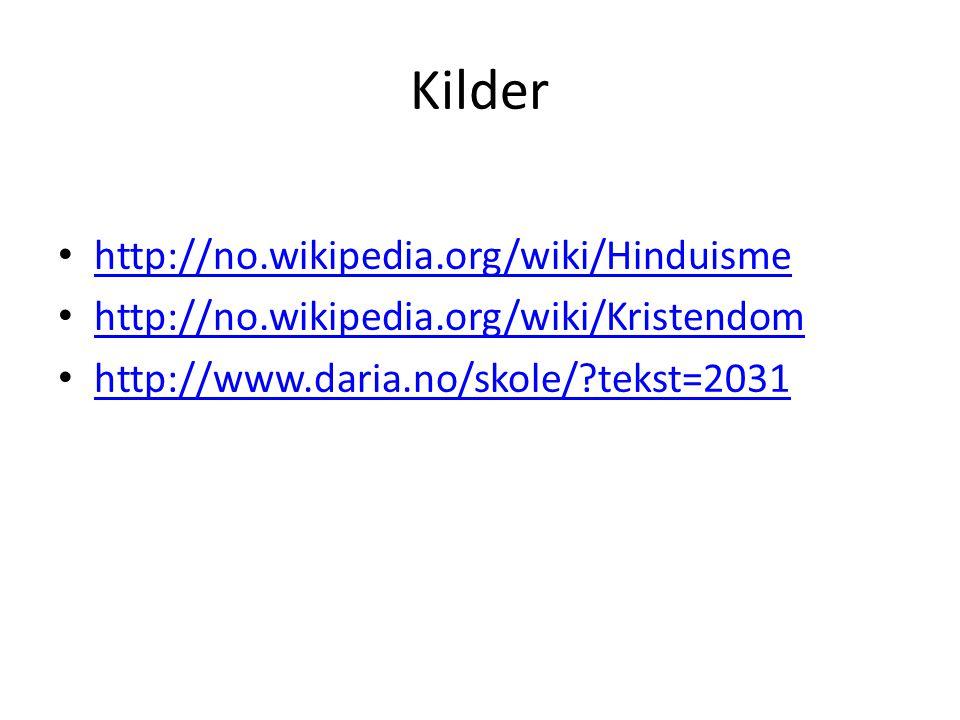 Kilder http://no.wikipedia.org/wiki/Hinduisme http://no.wikipedia.org/wiki/Kristendom http://www.daria.no/skole/?tekst=2031