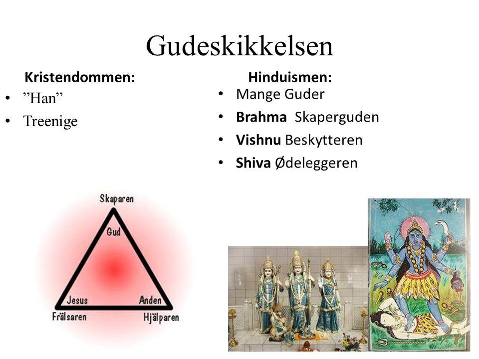 """Gudeskikkelsen Kristendommen: """"Han"""" Treenige Hinduismen: Mange Guder Brahma Skaperguden Vishnu Beskytteren Shiva Ødeleggeren"""