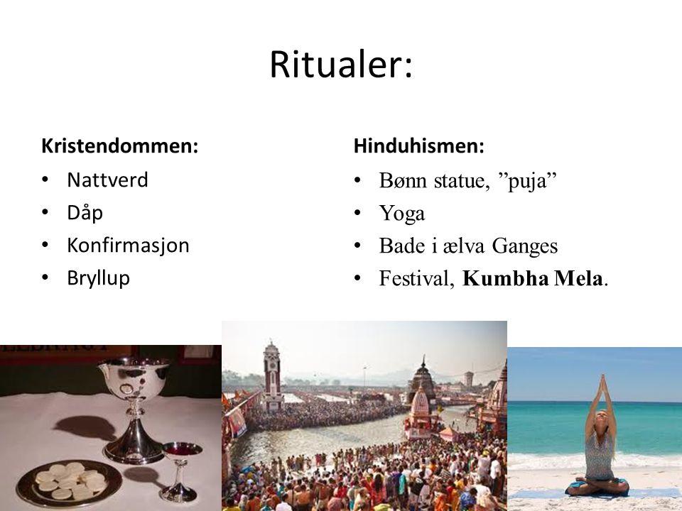 """Ritualer: Kristendommen: Nattverd Dåp Konfirmasjon Bryllup Hinduhismen: Bønn statue, """"puja"""" Yoga Bade i ælva Ganges Festival, Kumbha Mela."""